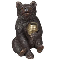 19th Century Carved Black Forest Bear Lidded Jar