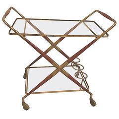 Italian, Mid-Century Brass and Glass Bar Cart
