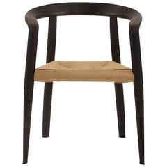 Black Miss Dining Chair with Wicker Seat by Tobia Scarpa for Molteni, Italy