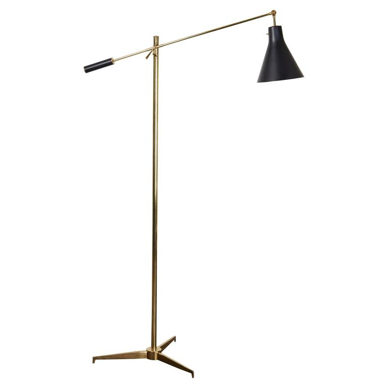 Brass Floor Lamp by Angelo Lelli for Arredoluce For Sale