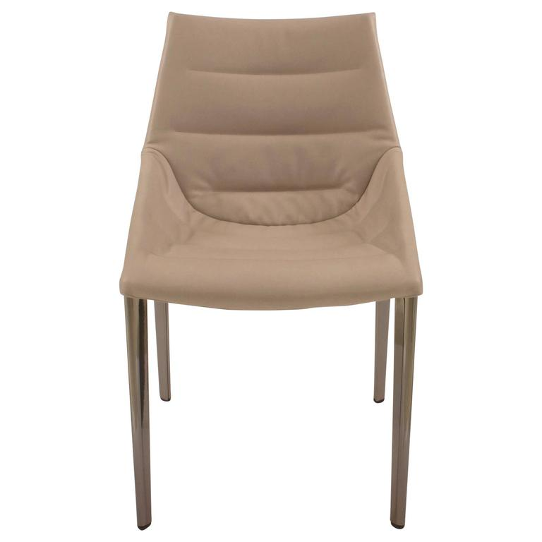 Metal And Beige Leather Outline Dining Chair By Arik Levy