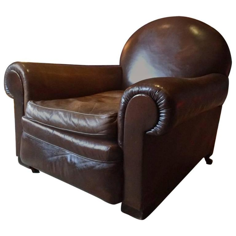 French Club Chair Moustache Cigar Armchair Leather Art Deco, 1930s For Sale