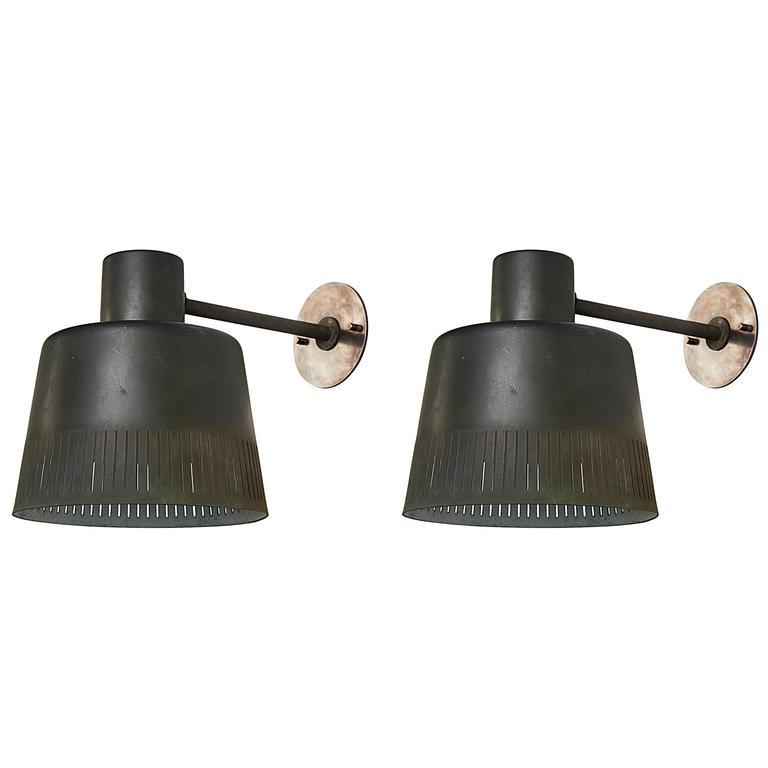 Pair of Model 1006 A Patinated Copper Exterior Sconces by Hans Bergström 1
