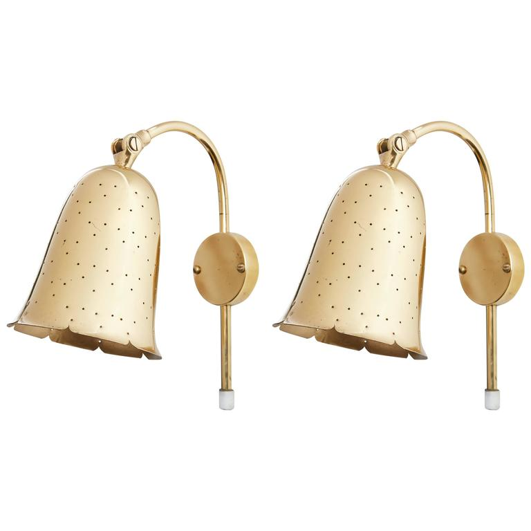 Pair of Perforated Brass Wall Lights by Boréns Borås 1