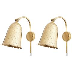 Pair of Perforated Brass Wall Lights by Boréns Borås