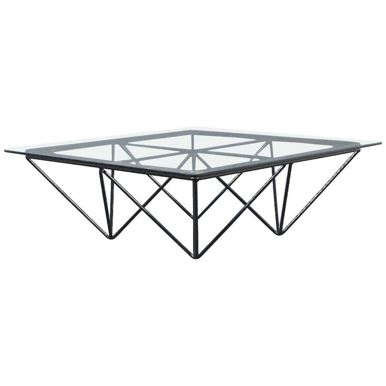 "Square Glass Coffee Table in the Style of Paolo Piva's ""Alanda"" Table"