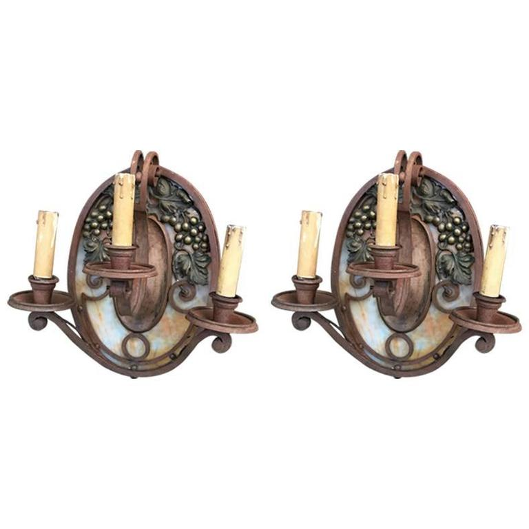 Pair of Art Deco Sconces in the Style of Edgar Brandt
