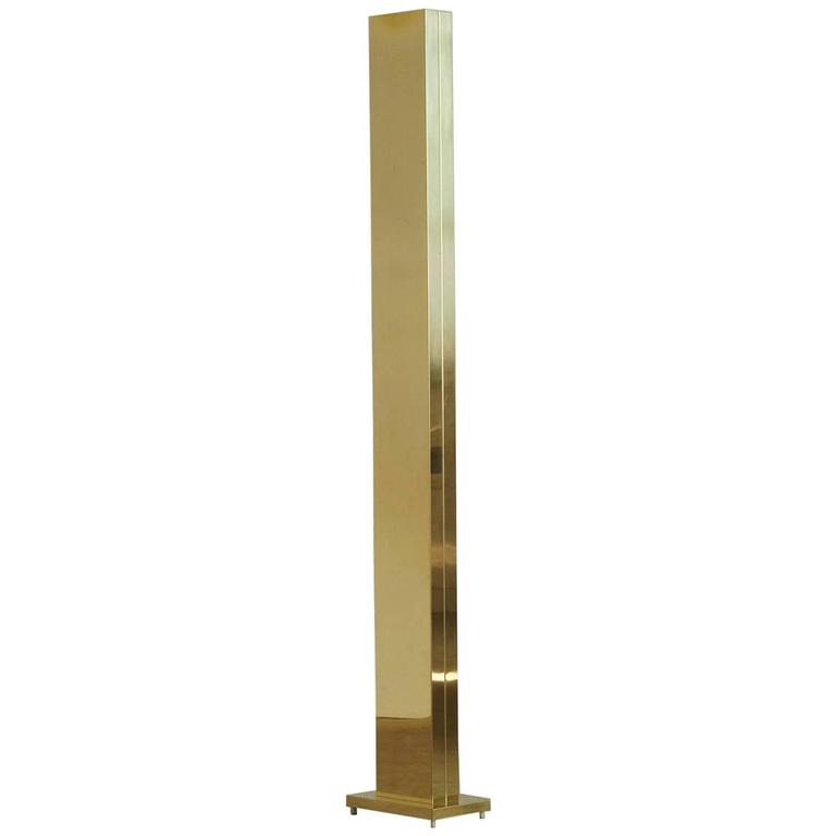 tall polished brass torchiere floor lamp by casella lighting san fransisco 1