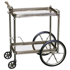 Mid-Century Maison Jansen Style Bar Cart with Removable Glass Bottom Tray