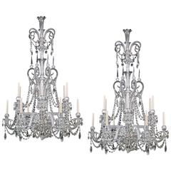 Highly Important Pair of Cut Glass Antique Chandeliers by F&C Osler