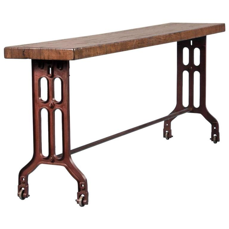 Long American Made Industrial Reclaimed Oak Console Table With Cast Iron  Legs 1