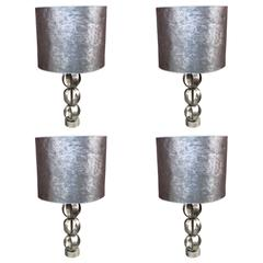 Set of Four Steel Table Lamps, circa 1970-1980