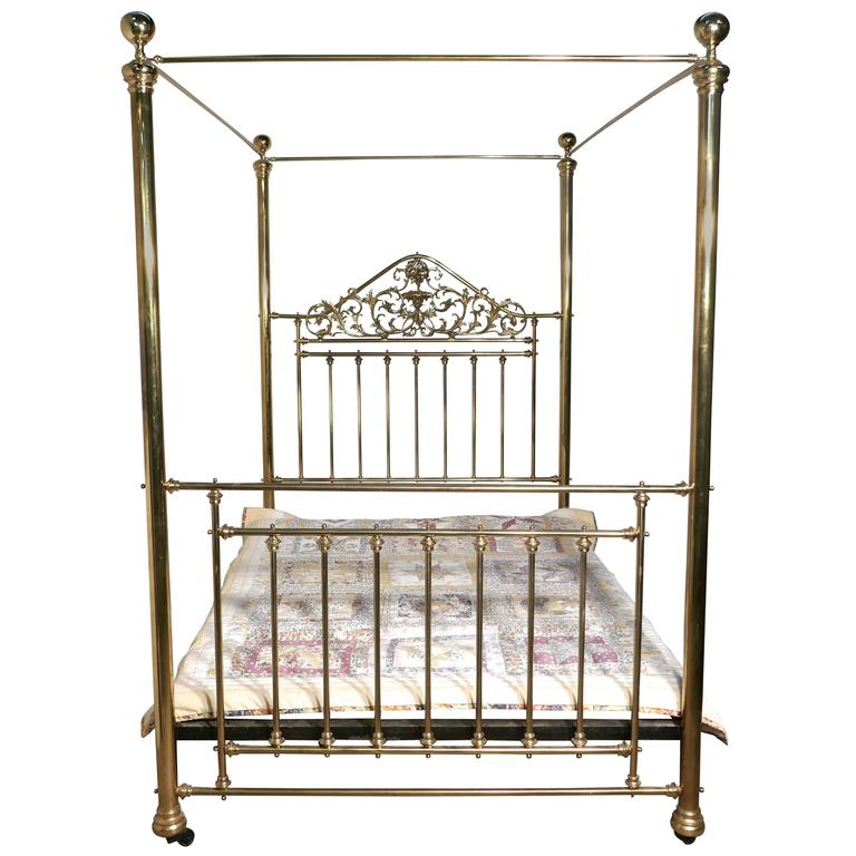Victorian Art Nouveau Four Poster Double Brass Bed at 1stdibs