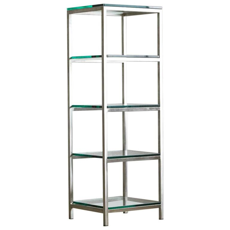 Modern brushed aluminium tag re or display with five thick glass shelves for - Etagere aluminium design ...