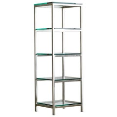 Modern Brushed Aluminium Étagère or Display Shelf with 5 Thick Glass Shelves