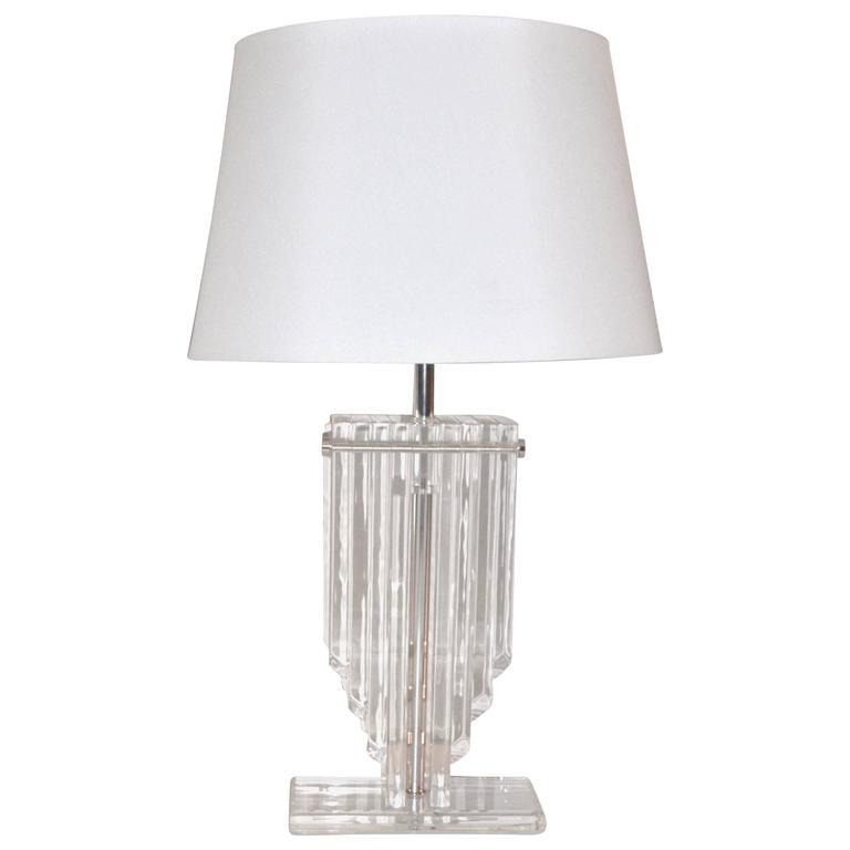 Karl Springer Style Skyscraper Lucite Table Lamp