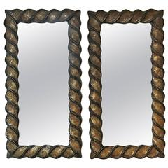 Pair of Mid-Century Mosaic Gold Mirrors