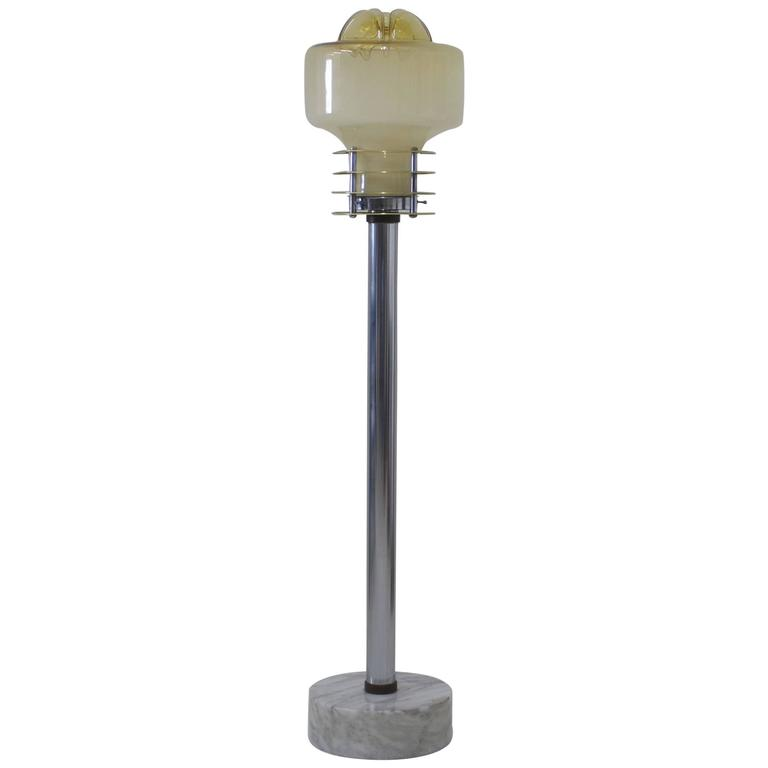 Murano Mazzega Chrome and Glass Floor Lamp with Marble Base For Sale ...