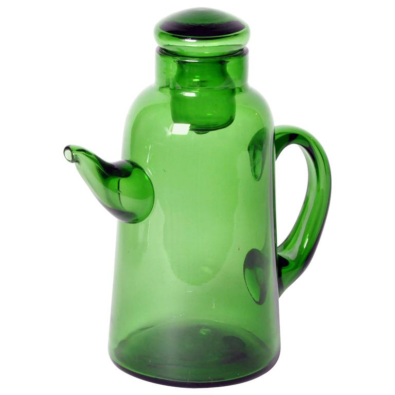 Green empoli glass tea pot for sale at 1stdibs Green tea pot set
