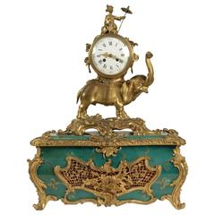 Palatial Clock Elephant with a Chinese Man Sitting on, Green Base and Ormoulu