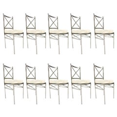 Set of 10 Mid-Century Swedish Polished Steel Dining Chairs with Cowhide Cushions