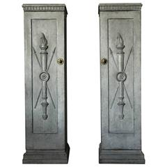 Gustavian Pair of Carved and Painted Pedestals, circa 1850
