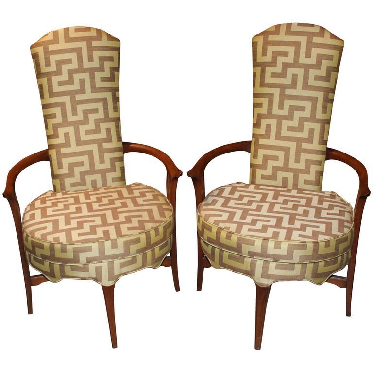 Pair Of Danish Mid Century Modern High Back Round Upholstered