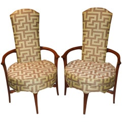 Pair of Danish Mid-Century Modern High Back Round Upholstered Armchairs