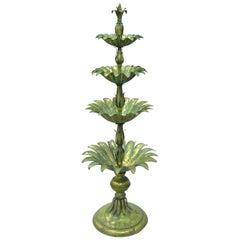 "60"" Italian Hollywood Regency Green Gold Tole Metal Palm Leaf Sculpture Statue"