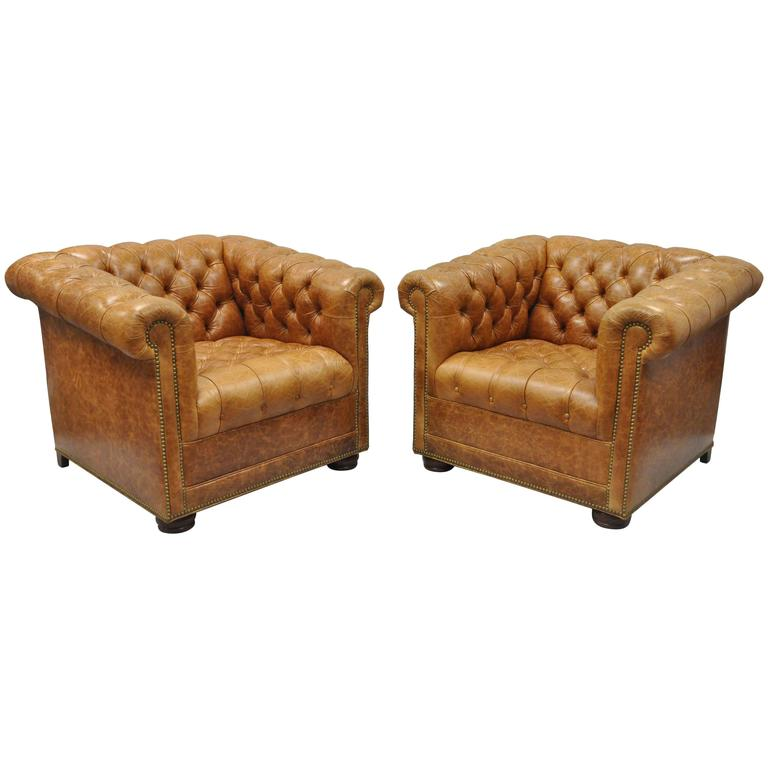 Pair Of Leathercraft Tufted Chesterfield Distressed Cognac Leather Lounge  Chairs For Sale