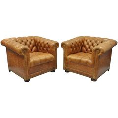 Pair of Leathercraft Tufted Chesterfield Distressed Cognac Leather Lounge Chairs