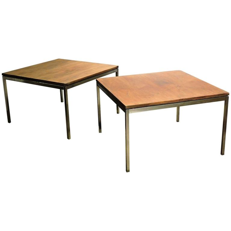 Early Florence Knoll Steel Tables with Floating Walnut Tops