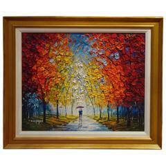 Magnificent Large Orig Framed Landscape Walkway Painting Slava Ilyayev Russia
