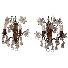1910 French Bagues Style Crystal Flower Sconces