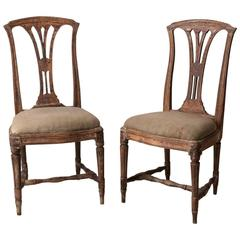 Pair of Swedish Gustavian Chairs from the Late 18th Century