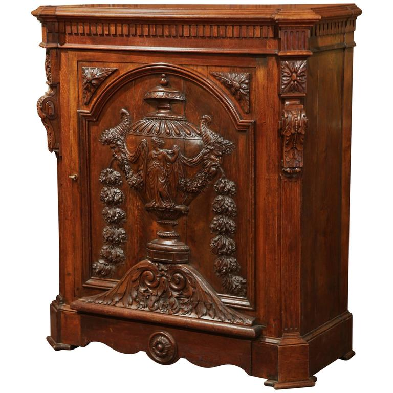 Large 19th Century French Napoleon III Carved Oak Single Door Cabinet