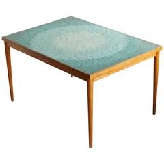 Aquamarine Mosaic Tile Table Attributed to Gordon Martz, Marshall Studio