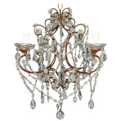 1920, French, Swags and Crystal Prisms Chandelier