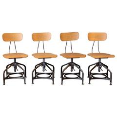 Set of Four Bent Plywood and Metal Adjustable Toledo Swivel Chairs Stools