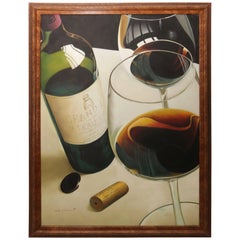 """Oil on Canvas Painting """"Wines of France"""""""