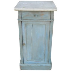 French Painted Nightstand with a Marble Top, Late 19th Century