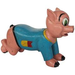 1930s Carnival Hand-Painted Wood Pig Ride