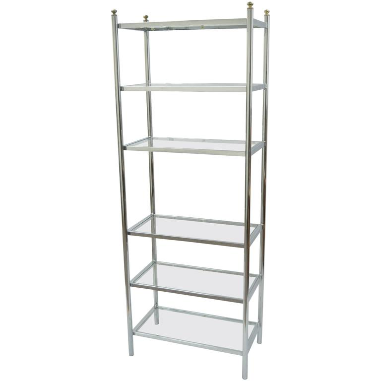 Mid-Century Modern Polished Chrome, Brass and Glass Six Shelf ...