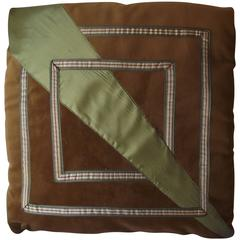Art Deco Throw Pillow, Camel and Olive Pillow