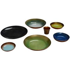 Collection of Jade Snow Wong Enamel on Copper Bowls