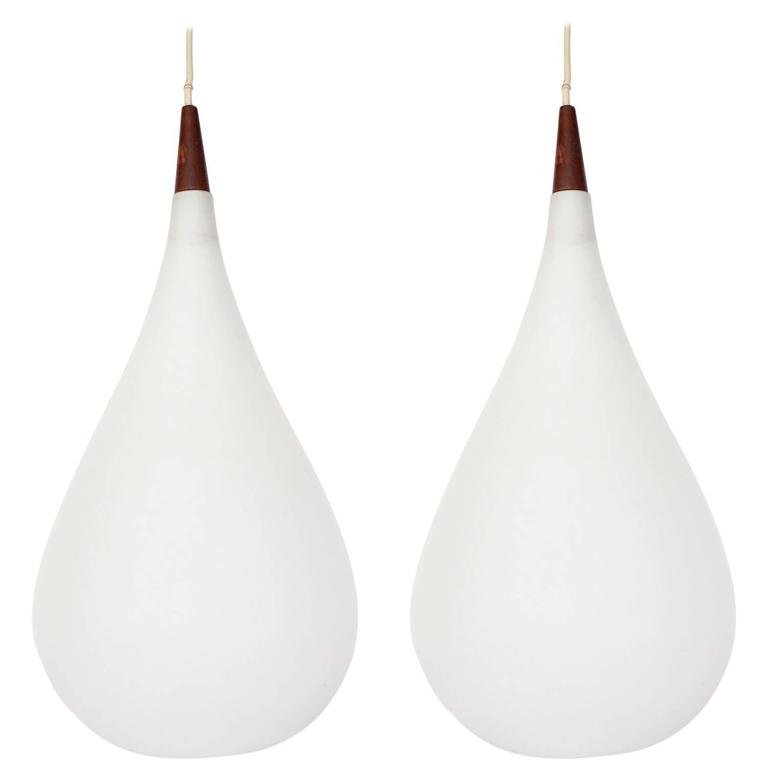 Large Milk Glass Drop Shaped Pendant Light by Holmegaard
