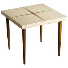Square Walnut Side Table with Walnut Inlaid Terrazzo Top