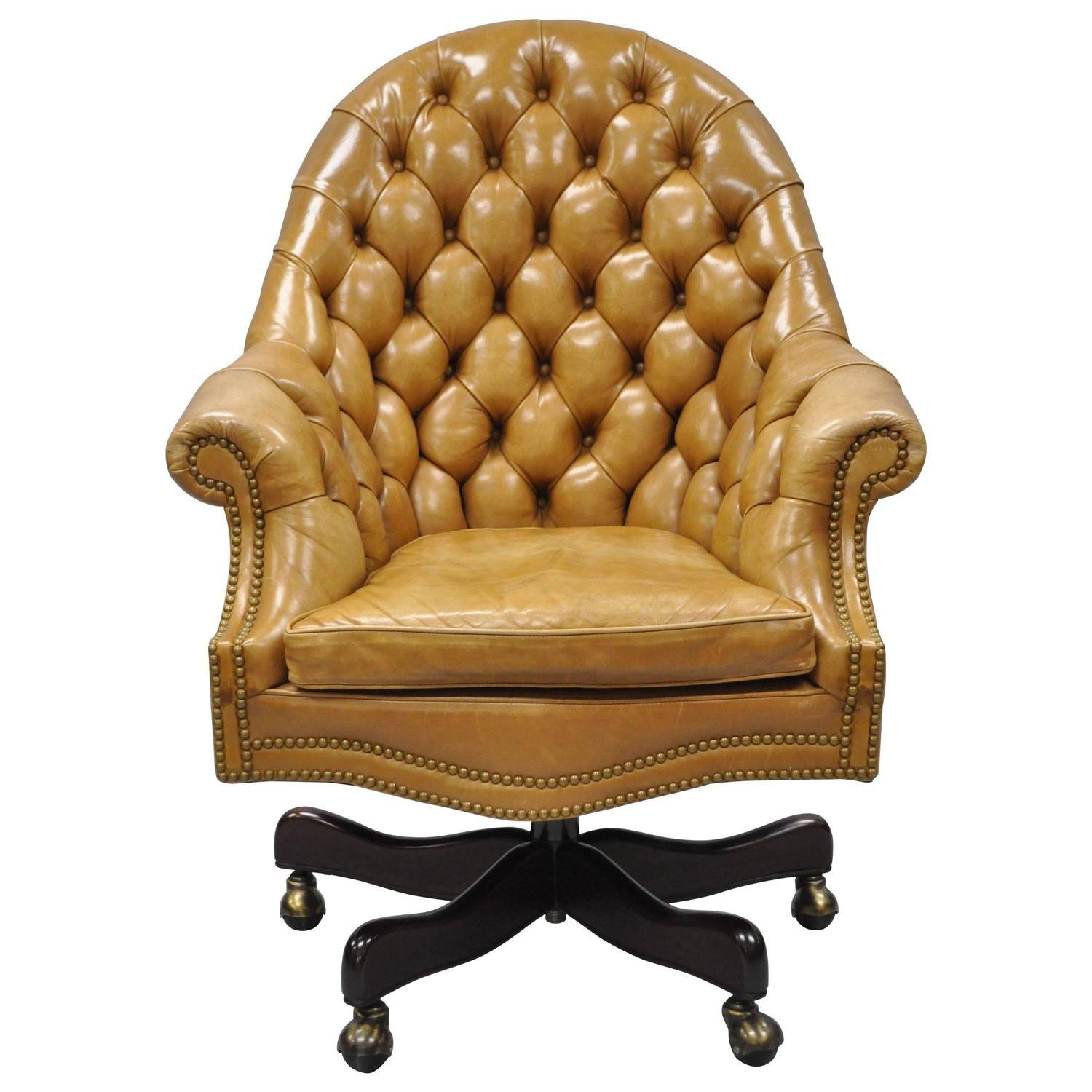 Chesterfield office chair - 20th Century Cabot Wrenn Tan Leather English Chesterfield Office Desk Chair