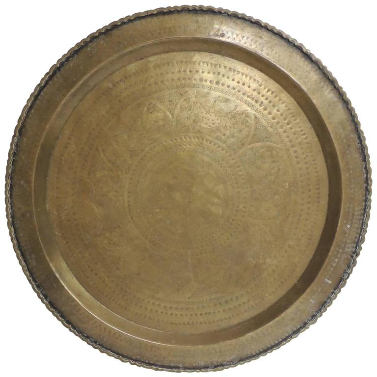 Large Brass Round Asian Serving Tray At 1stdibs