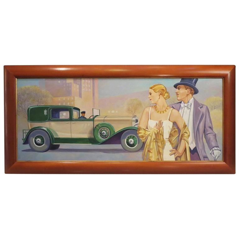 Art Deco Style Oil Painting in the Manner of JC Leyendecker For Sale